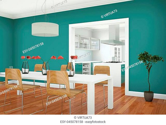 Green dining room interior design in modern appartment 3D Illustration
