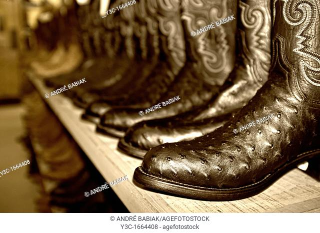 Western Boots on sales display in western outfitter store