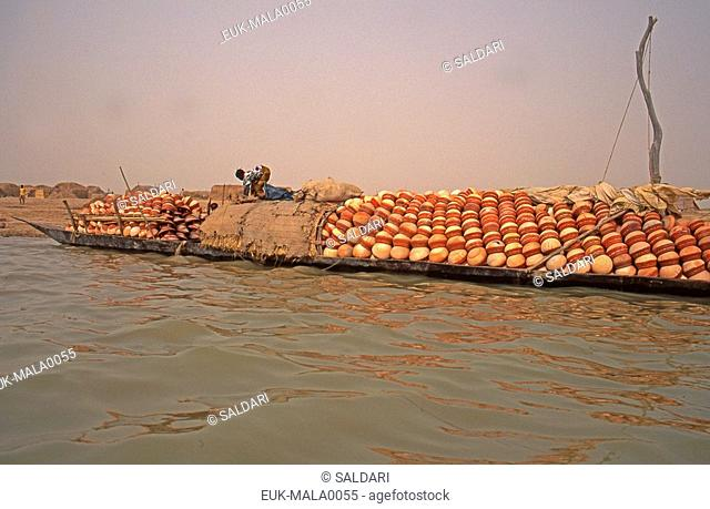 River transport,pinnace  large canoe ,Niger River, Mali
