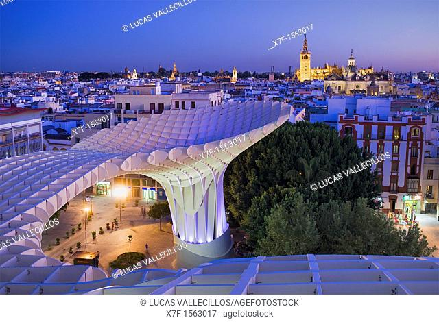 To of Metropol Parasol, in background the cathedral,from Plaza de la Encarnación,Sevilla,Andalucía,Spain