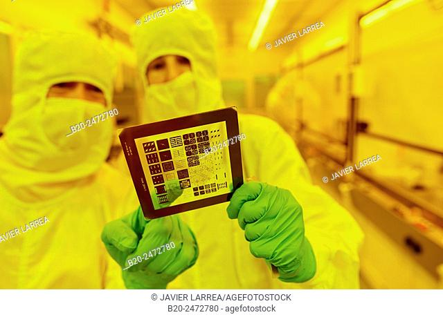 Photomask, Photolithography Room, Photolithography mask. Cleanroom. Nanotechnology. Laboratory. CIC nanoGUNE Nano science Cooperative Research Center