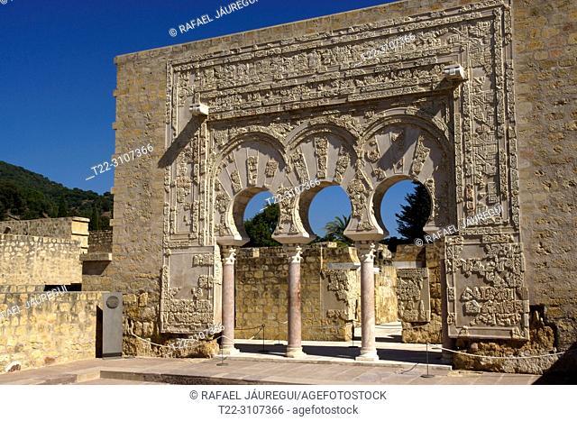 Cordoba (Spain). Arcade of the House of Ya'far in the city Califal de Medina Azahara