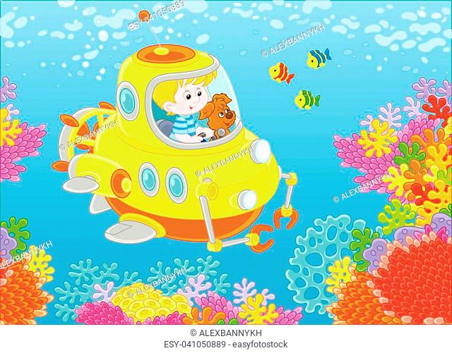 Toy deep-sea bathyscaphe piloting by a little boy with his pup exploring a colorful coral reef with funny fishes in a tropical sea