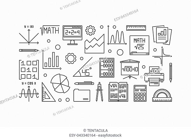 Mathematics vector thin line banner. Vector linear education and science concept banner on white background