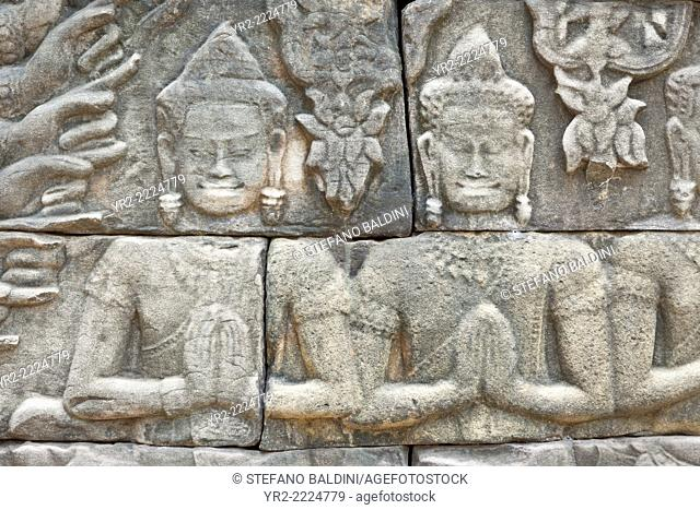 Bas reliefs at Banteay Chhmar temple , Cambodia