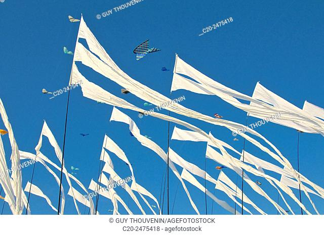 Flying Kites in the sky, autumn festival, Dieppe, 76, Normandy, France