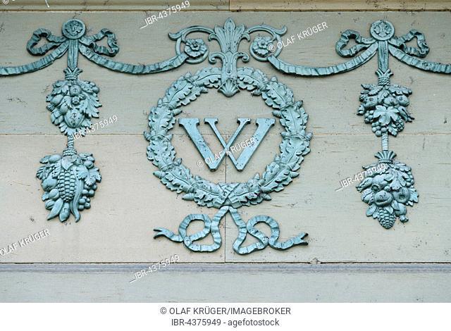 Ornamental frieze with capital W, Wilhelma Zoo, Stuttgart, Baden-Württemberg, Germany, Europe