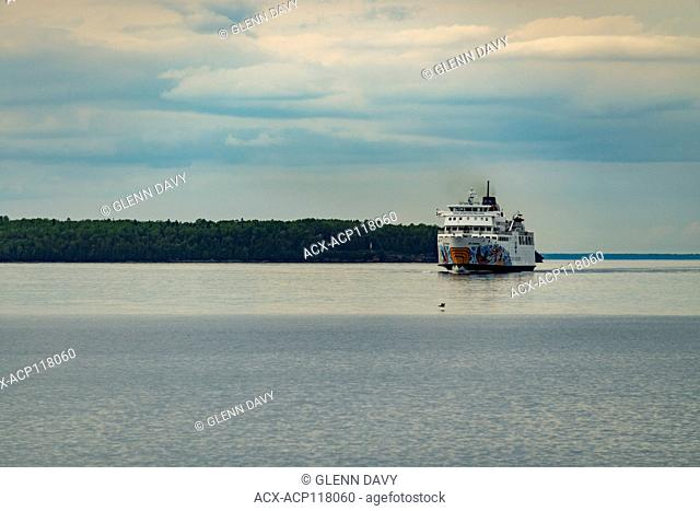 Chi-Cheemun Ferry approaching Tobermory from South Baymouth, Tobermory, Ontario, Canada