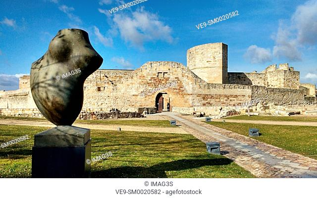 Sculpture by Baltasar Lobo and Zamora castle in background. Zamora city, Castile Leon, Spain