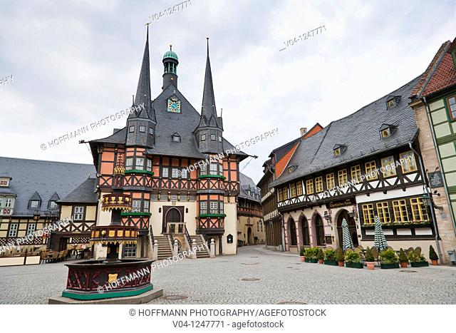 The historic town hall and the market square in Wernigerode, Harz, Germany, Europe