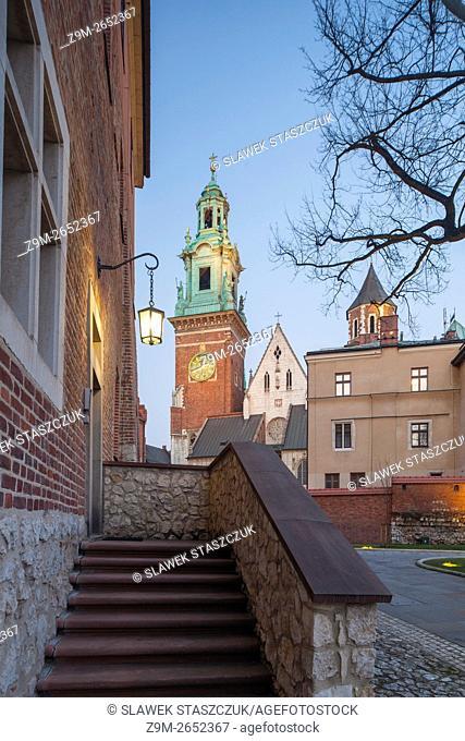 Dusk at Wawel Royal Castle in Krakow, Poland