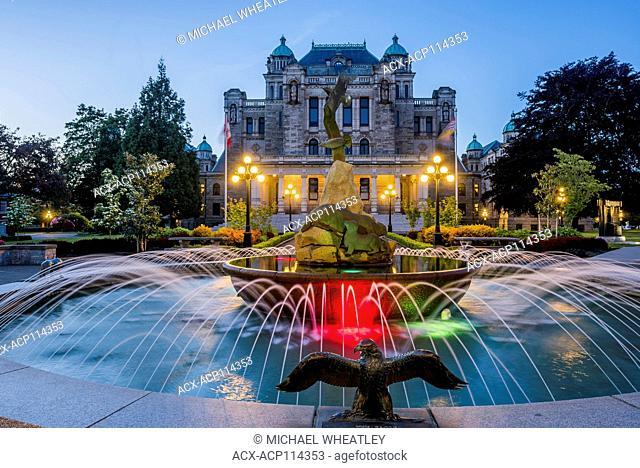 Fountain at rear, British Columbia Legislature, Victoria, Vancouver Island, British Columbia, Canada