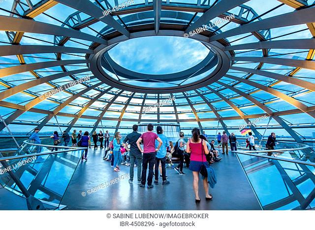 Interior, glass dome, Reichstag, Government District, Berlin-Mitte, Berlin, Germany