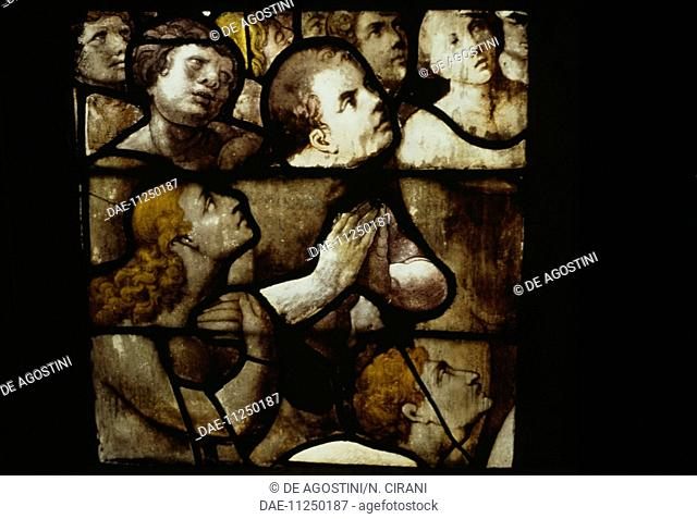 Faithful in prayer, Last Judgment, stained-glass window in the Cathedral of St Michael and St Gudula, 13th-17th century, Brussels, Belgium