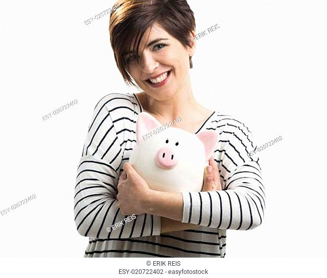 Woman with a piggybank