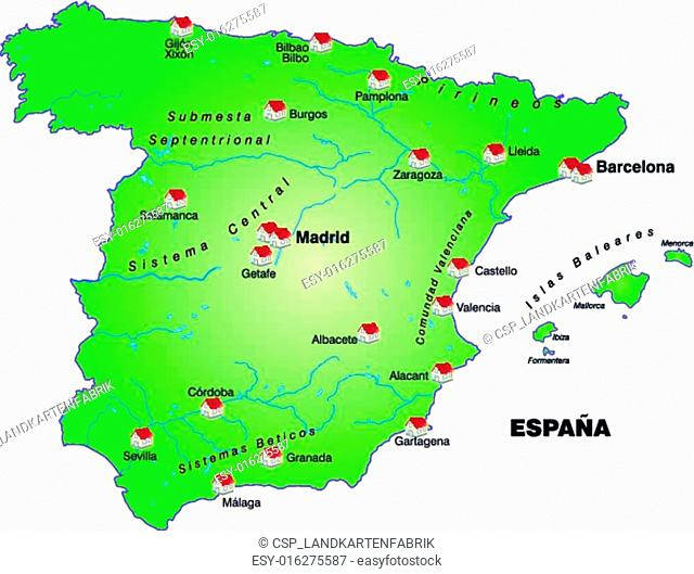 Bilbao On Map Of Spain.Map Of Bilbao Stock Photos And Images Age Fotostock