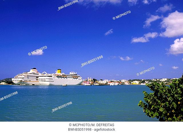 cruise liners in the harbour of St. Johns, Antigua and Barbuda