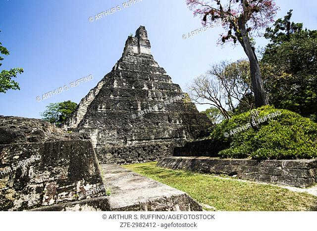 Side view of Temple I, Great Jaguar Temple, Tikal, Guatemala, Central America