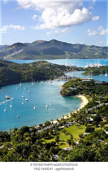 View of English Harbour and Nelsons Dockyard and Falmouth Harbour in the distance at Antigua