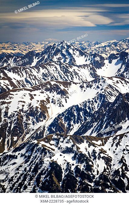 Pyrenees mountain range from Pic du Midi Observatory. Pic du Midi de Bigorre