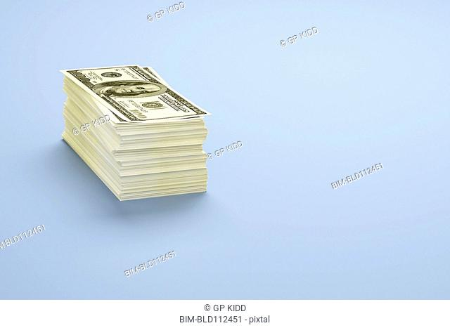Close up of stack of dollar bills