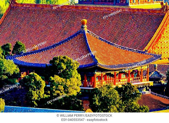 Blue Pavilion Green Trees Forbidden City Gugong Beijing China.