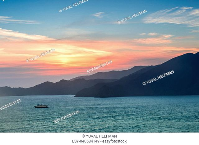 Cruise boat crossing the San Francisco Bay in Golden Gate National Recreation Area. Sausalito, Marin County, California, USA