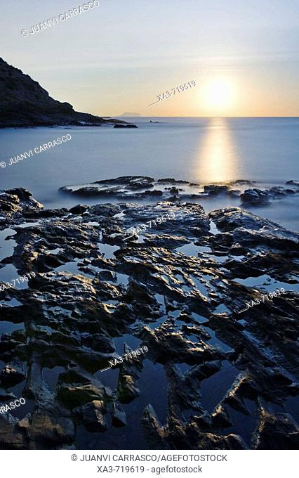 Moon over the sea, Cabo de Gata-Nijar Biosphere Reserve. Almeria province, Andalucia, Spain
