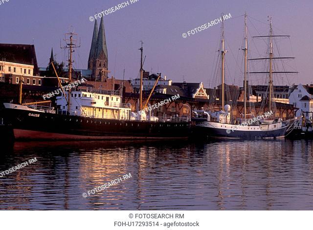 Germany, Lubeck, Schleswig-Holstein, Baltic Sea, Europe, Boats docked in the Hansahafen (harbor)
