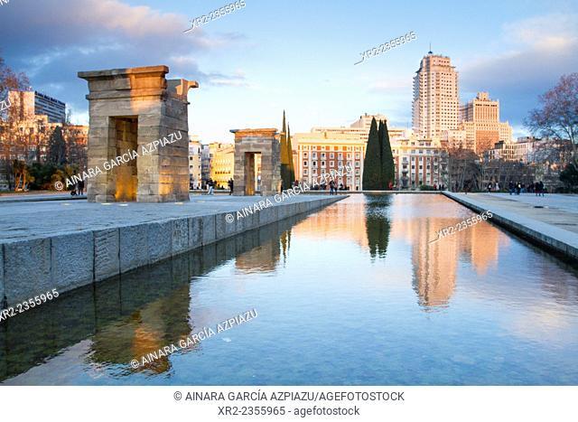 Sunset in Templo de Debod, Madrid, Spain