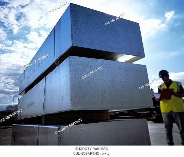 Recycled aluminium blocks in port, Grimsby, England, United Kingdom