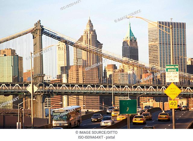 New York City skyline and bridge