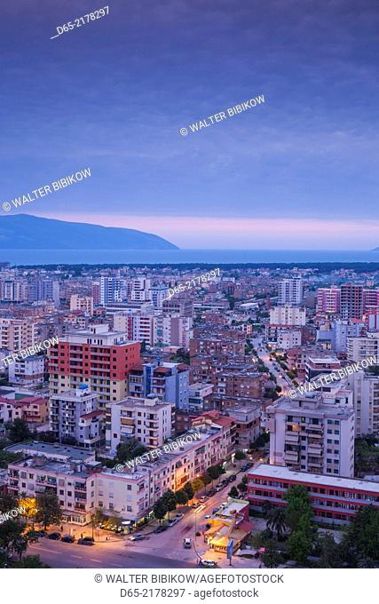 Albania, Vlora, elevated city view, dusk