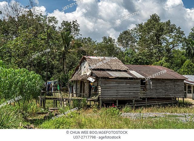 A land dayak (Bidayuh) wooden house at Kampong Gumbang, Bau, Sarawak, Malaysia.Sarawak, Malaysia