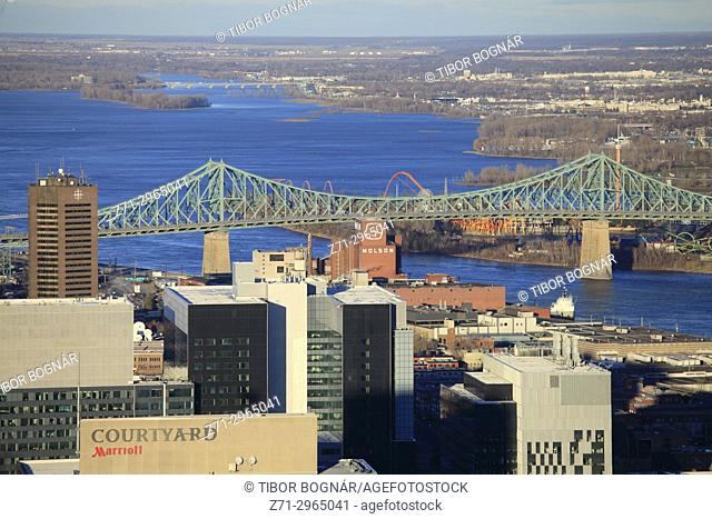 Canada, Quebec, Montreal, St Lawrence River, Jacques Cartier Bridge,