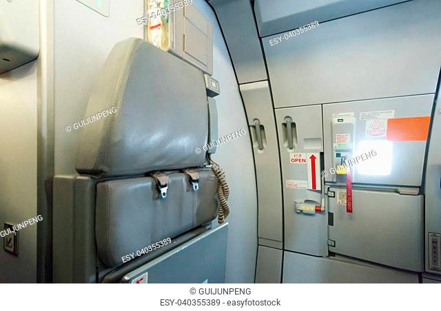 Interior of a commercial airplane