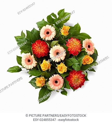 Bouquet with autumn flowers on white background;