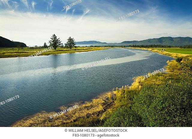 USA, Oregon, Tillamook County, Tillamook River leading into Tillamook Bay, August