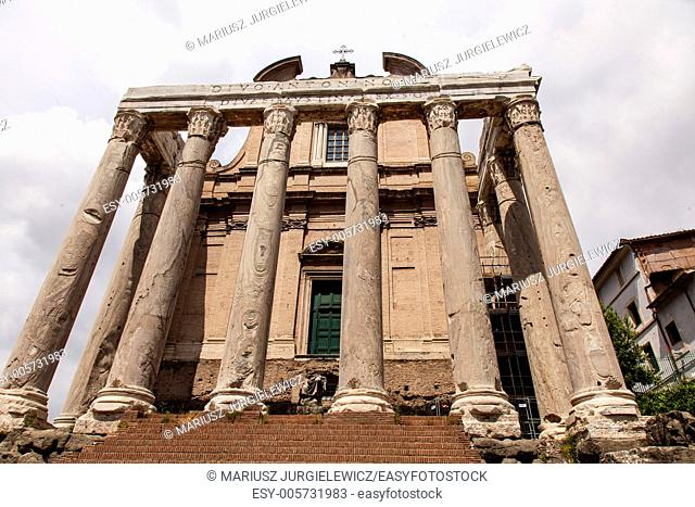 Temple of Antoninus and Faustina is an ancient Roman temple in Rome, adapted to the church of San Lorenzo in Miranda. It stands in the Forum Romanum