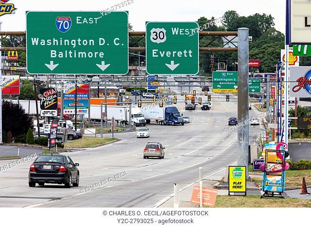 Breezewood, Pennsylvania. Traffic Heading to the Pennsylvania Turnpike