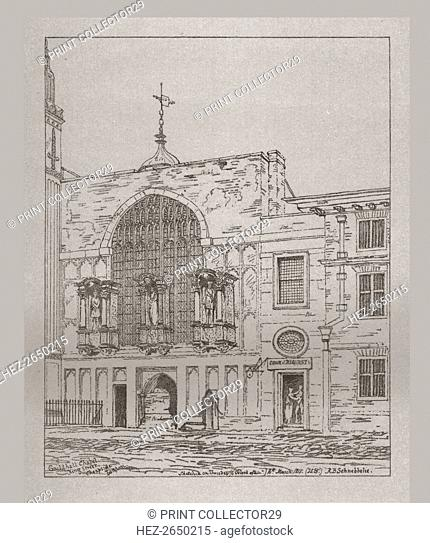 Exterior view of the Guildhall Chapel, 1815, (1886). Artist: Unknown