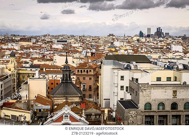 View of a roofs in the old town of Madrid city, Spain
