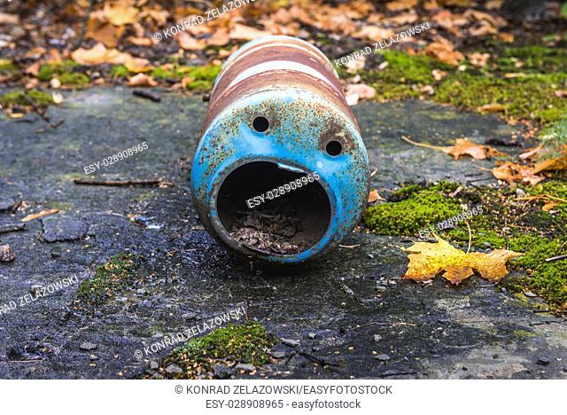 Funny shape of metal container in Pripyat ghost city of Chernobyl Nuclear Power Plant Zone of Alienation around nuclear reactor disaster in Ukraine