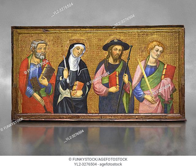 Painted Gothic panels from the Altarpiece of the Virgin of the Angels. . From Left - San Peter, Santa Clara, Saint James the Greater, St