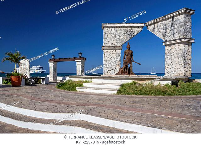 A seaside monument along the malecon in the port of Cozumel, Mexico