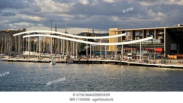 Rambla de Mar and Maremagnum commercial center, Barcelona, Catalonia, Spain, Europe