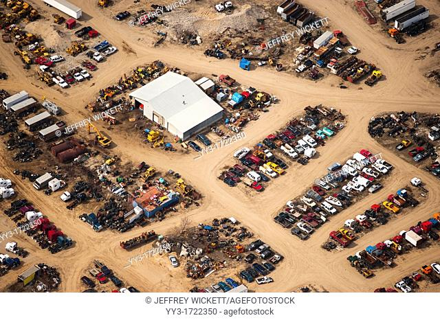 Aerial view of junk yard in Lake County, Michigan, USA