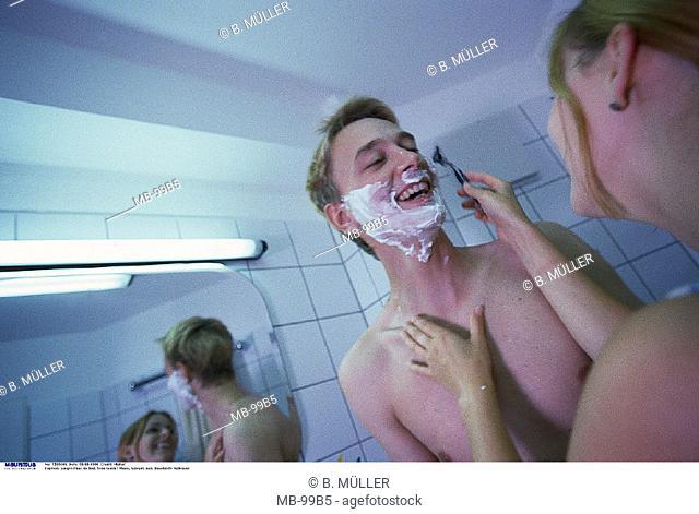 Couple, Bathroom, laugh, Shave
