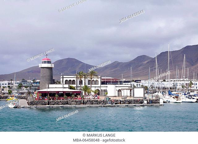 Lighthouse in the yacht harbour Marina Rubicon, Playa Blanca, Lanzarote, Canary islands, Spain