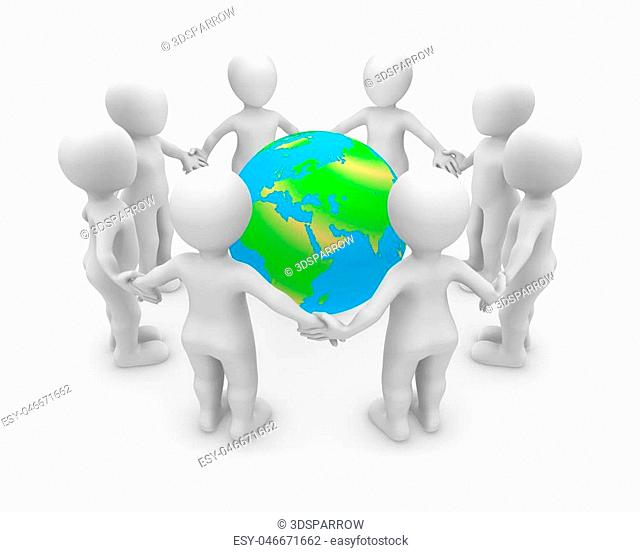 3d rendered white people with Earth. 3d rendered illustration